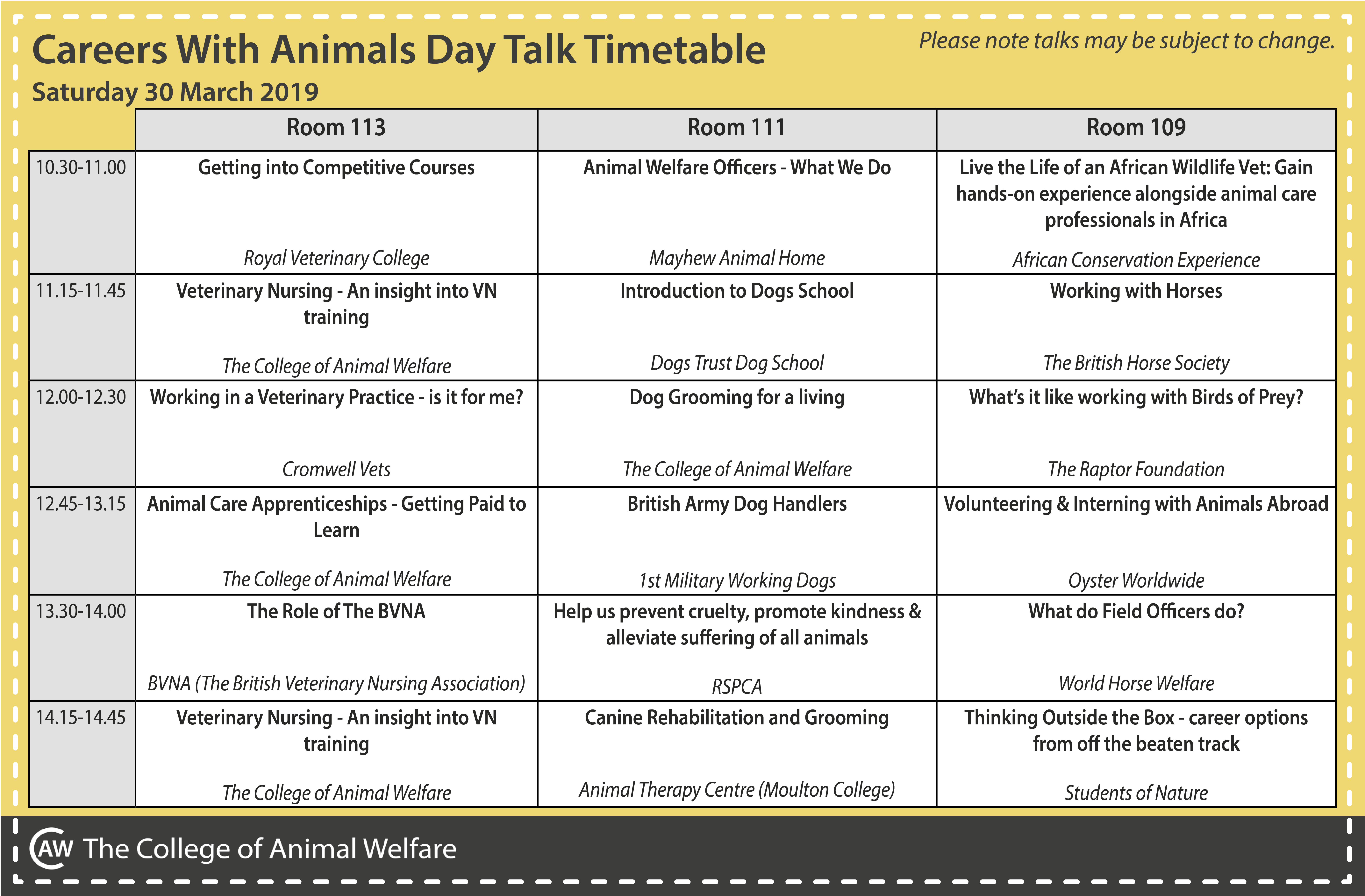 Careers With Animals Day talk timetable